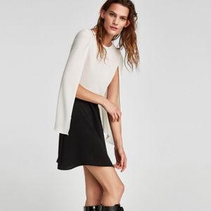 NWT Zara two tone combined cape dress Xs